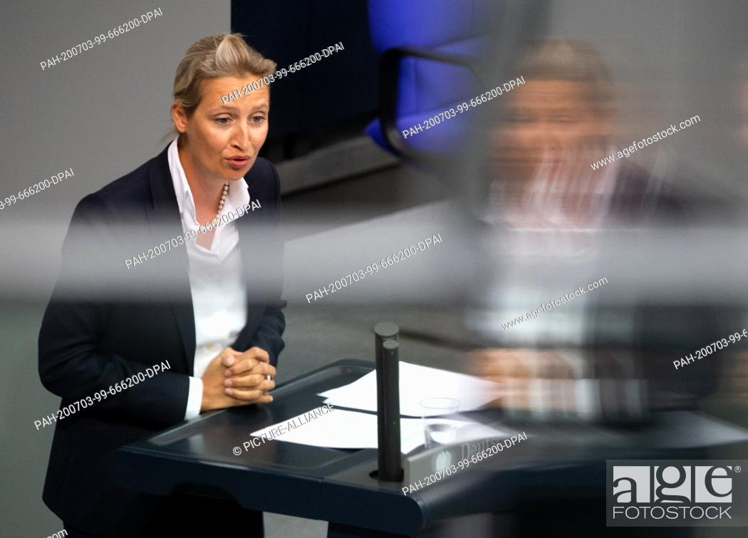Stock Photo: 03 July 2020, Berlin: Alice Weidel, leader of the AfD parliamentary group, speaks in the plenary session of the German Bundestag.