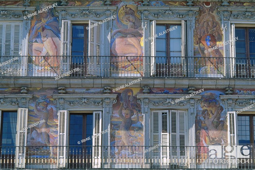 Stock Photo: Spain - Madrid - Plaza Mayor - The Casa de la Panaderia - seat of the baker's guilt.