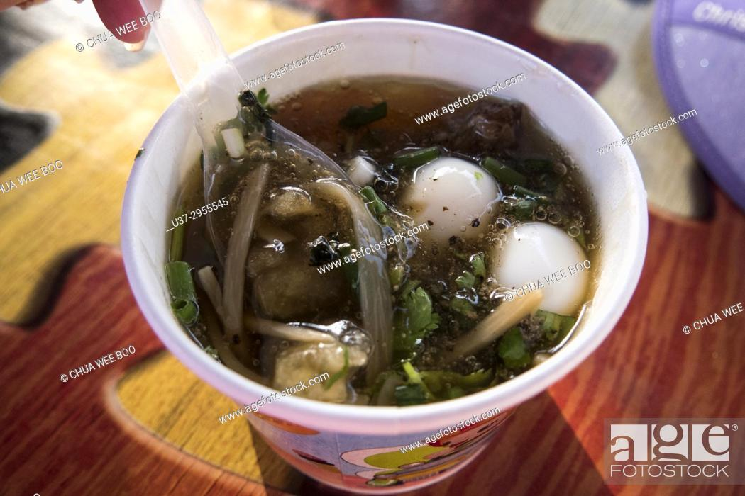 Stock Photo: Sea cucumber soup, Klong Hae Floating Market, Hatyai, Thailand.