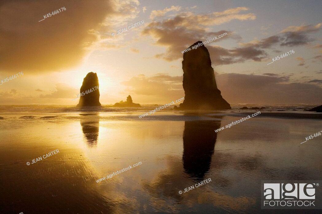Stock Photo: The Needles at sunset. Cannon Beach. Northern Oregon coast. USA.