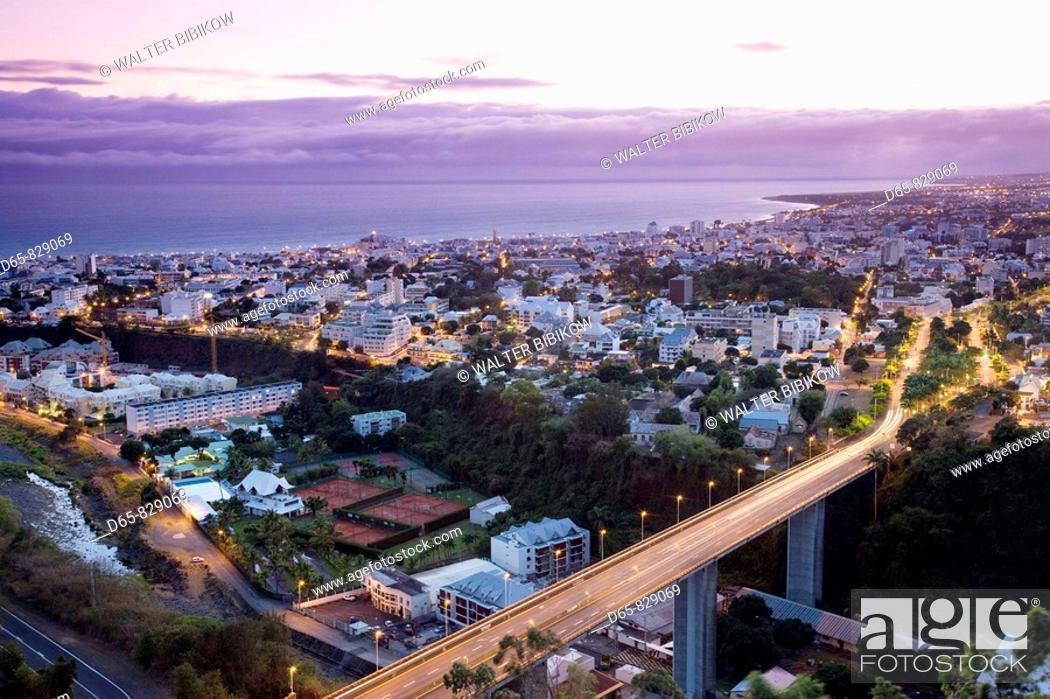 Stock Photo: City from La Montaigne at dawn, Saint-Denis, Reunion island, France.