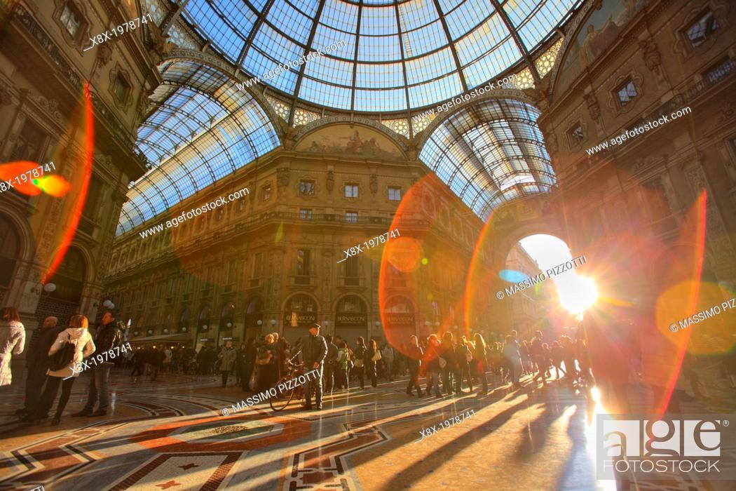Stock Photo: Vittorio Emanuele II gallery, Milan, Italy.