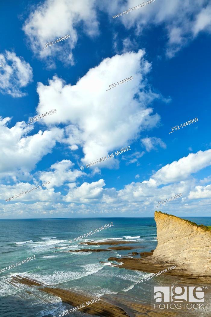 Stock Photo: Flysch, Mendata beach, Deva, Gipuzkoa, The Basque Country, The Bay of Byscay, Spain, Europe.