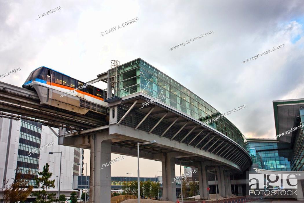 Stock Photo: Tokyo Monorail train leaves at Haneda Airport in Tokyo, Japan.