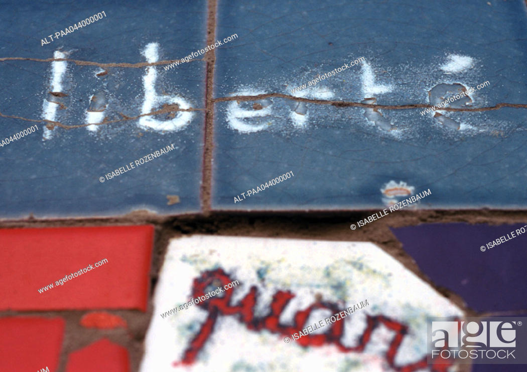 Stock Photo: 'Liberty', in french written on tiles, close-up.