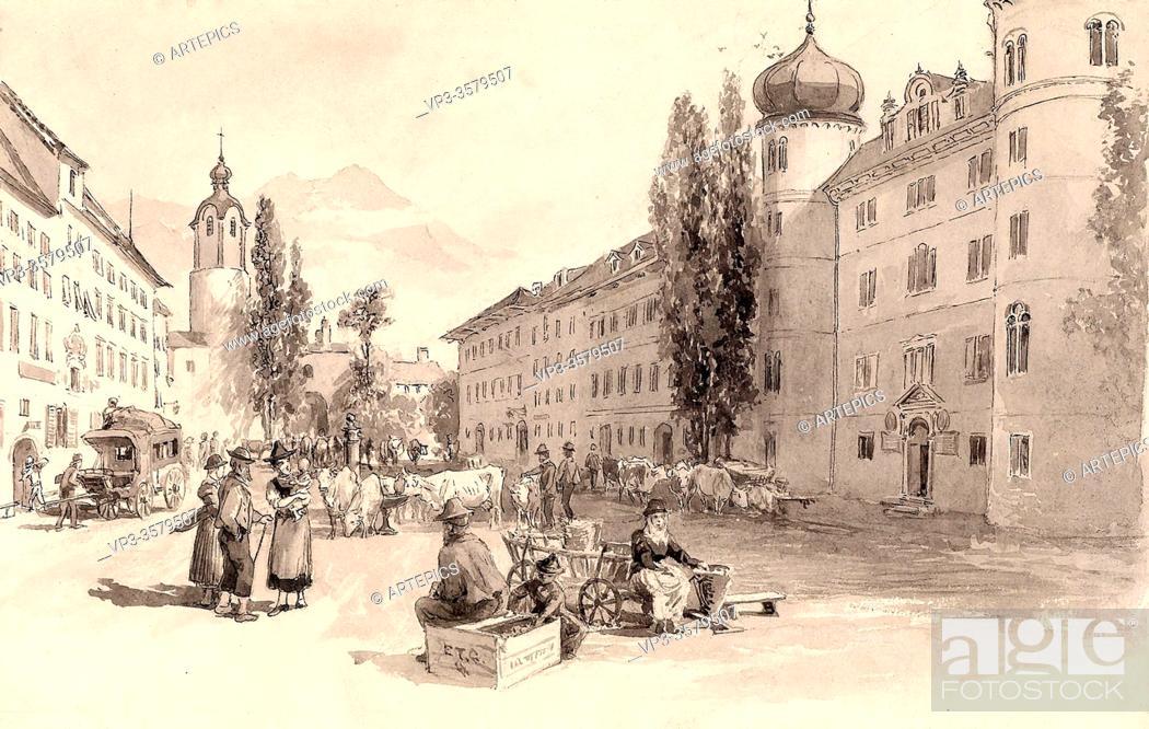 Stock Photo: Compton Edward Theodore - Der Hauptplatz in Lienz Tirol - German School - 19th and Early 20th Century.