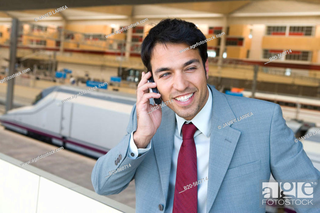 Stock Photo: Businessman. AVE, Tren Alta Velocidad. Delicias station, Zaragoza, Aragón. Spain.