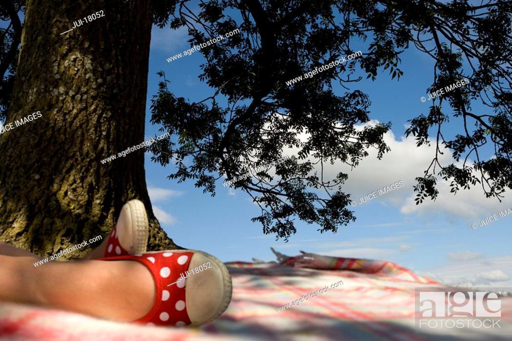 Stock Photo: Girl relaxing under tree.