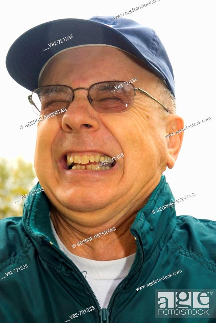 Stock Photo: Elderly man laughing, Willamette Mission State Park, Oregon, USA.