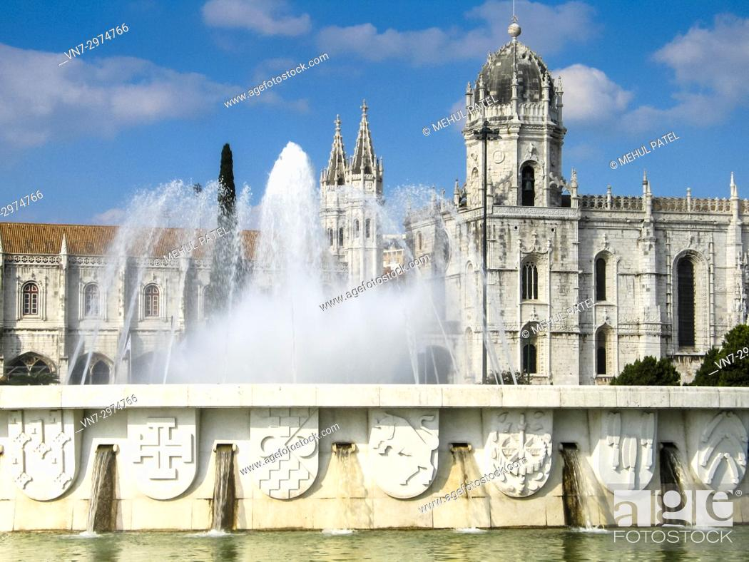 Stock Photo: The Fonte Luminosa in front of the Jeronimos Monastery in the Belem district of Lisbon, Portugal. The monastery is thought to have been built in 1502 to.