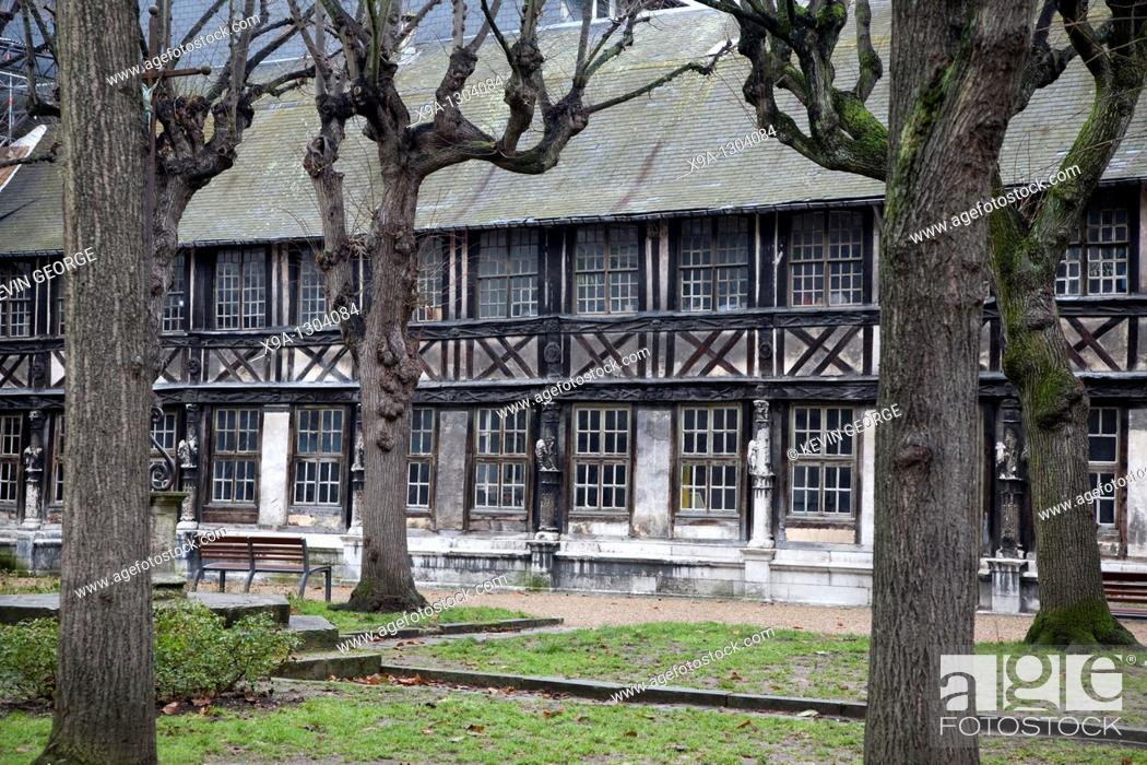 Stock Photo: Buildings of Altre Saint Maclov Courtyard used as burial ground in medieval times in Rouen, France.