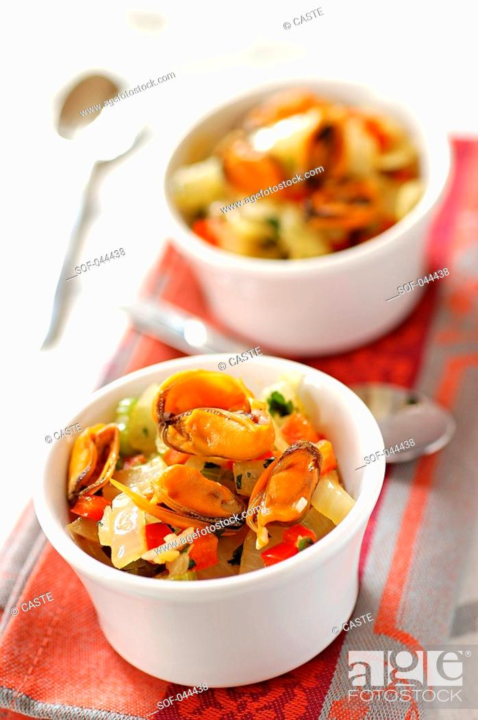 Stock Photo: sweet and sour mussels.