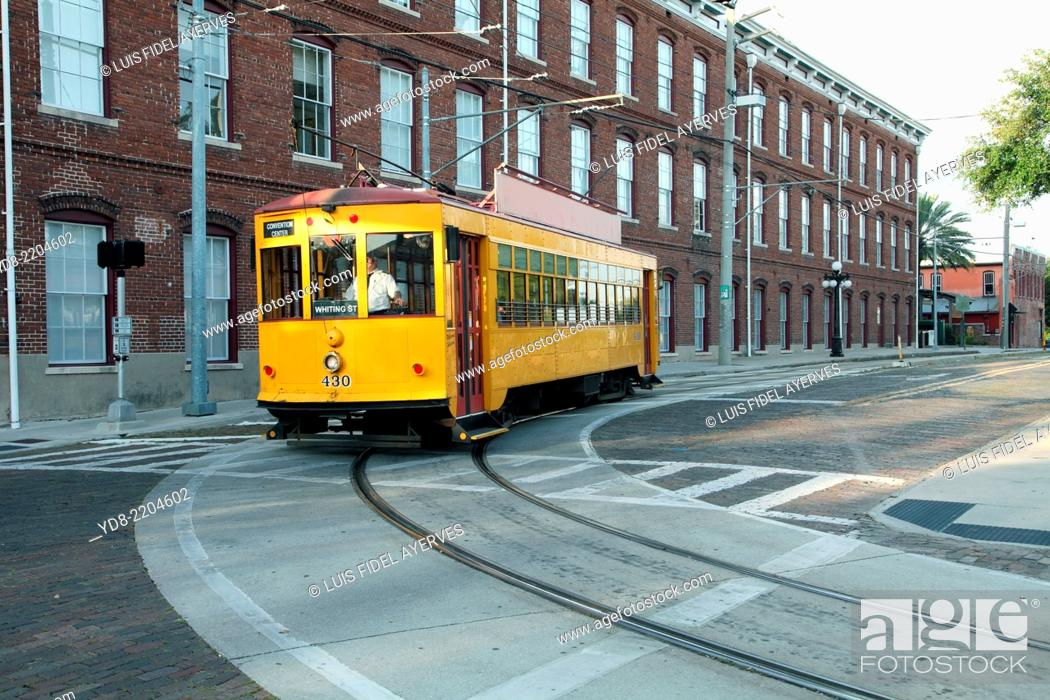Stock Photo: Cable car in the city of Ybor City in Tampa, Florida.