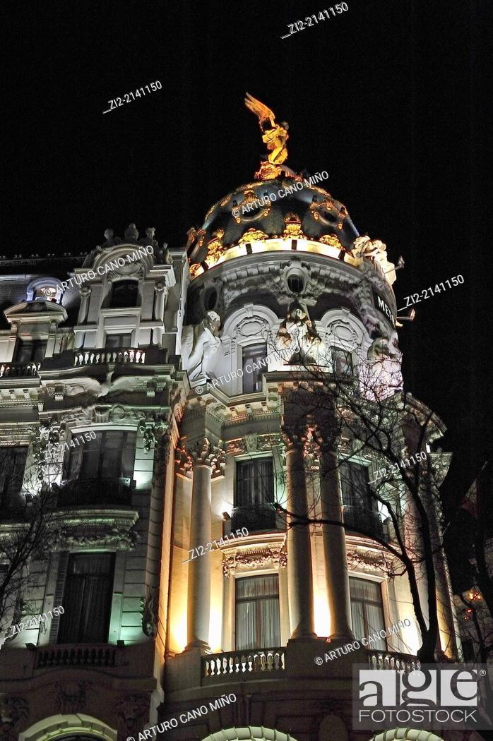 Stock Photo: Building Metropolis, XXth century, Madrid, Spain.