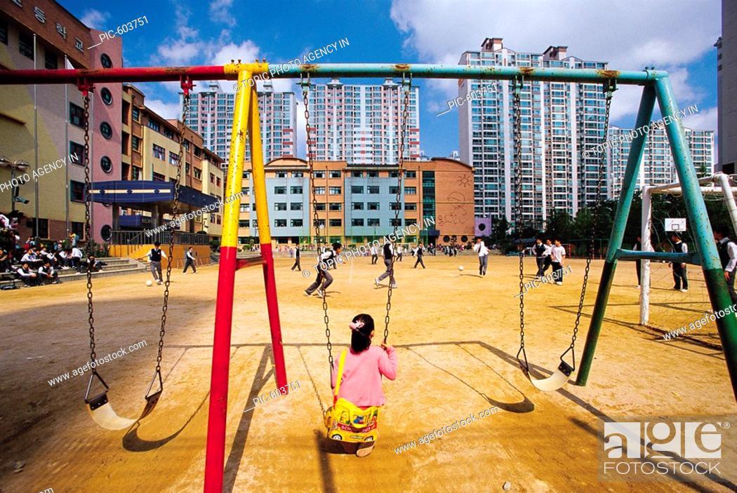 Stock Photo: Swing In Playground,Korea.