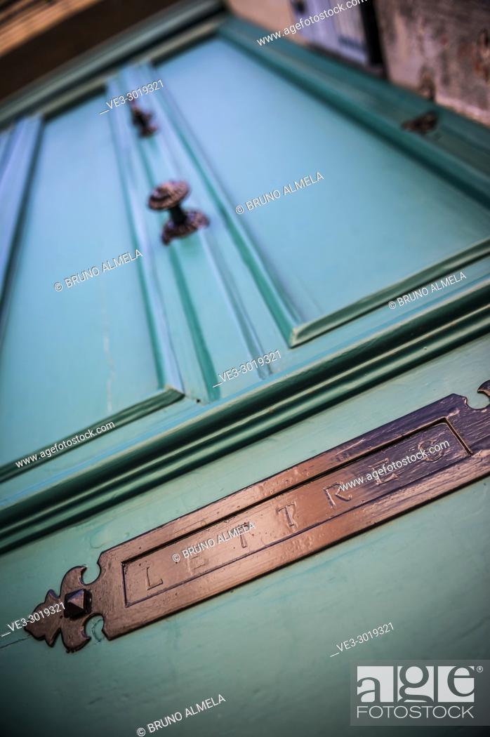 Stock Photo: Mailbox slot in a old door, Albi (Tarn Department, Occitanie Region, France).