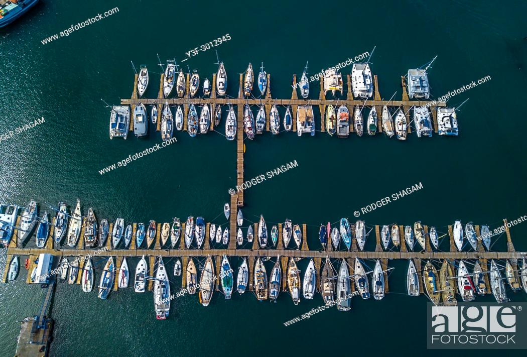 Imagen: Yachts moored safely in a marina. Hout Bay, Cape Town, South Africa.