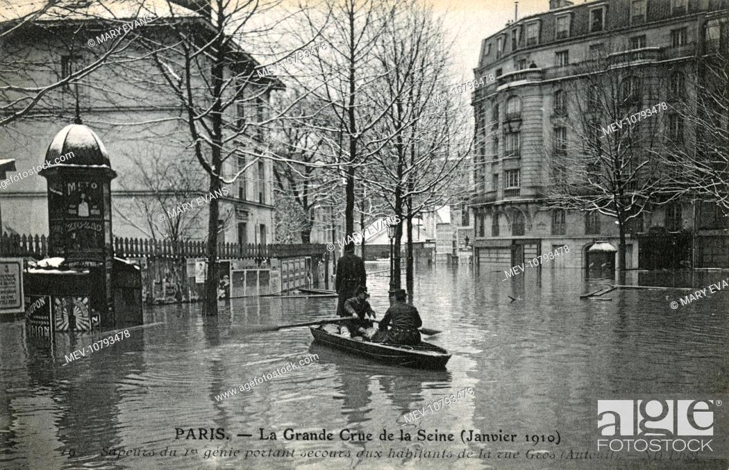the great flood in paris january 1910 stock photo picture and