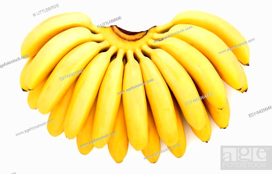 Stock Photo: Big bunch of little ripe delicious baby bananas isolated on white background, top view.