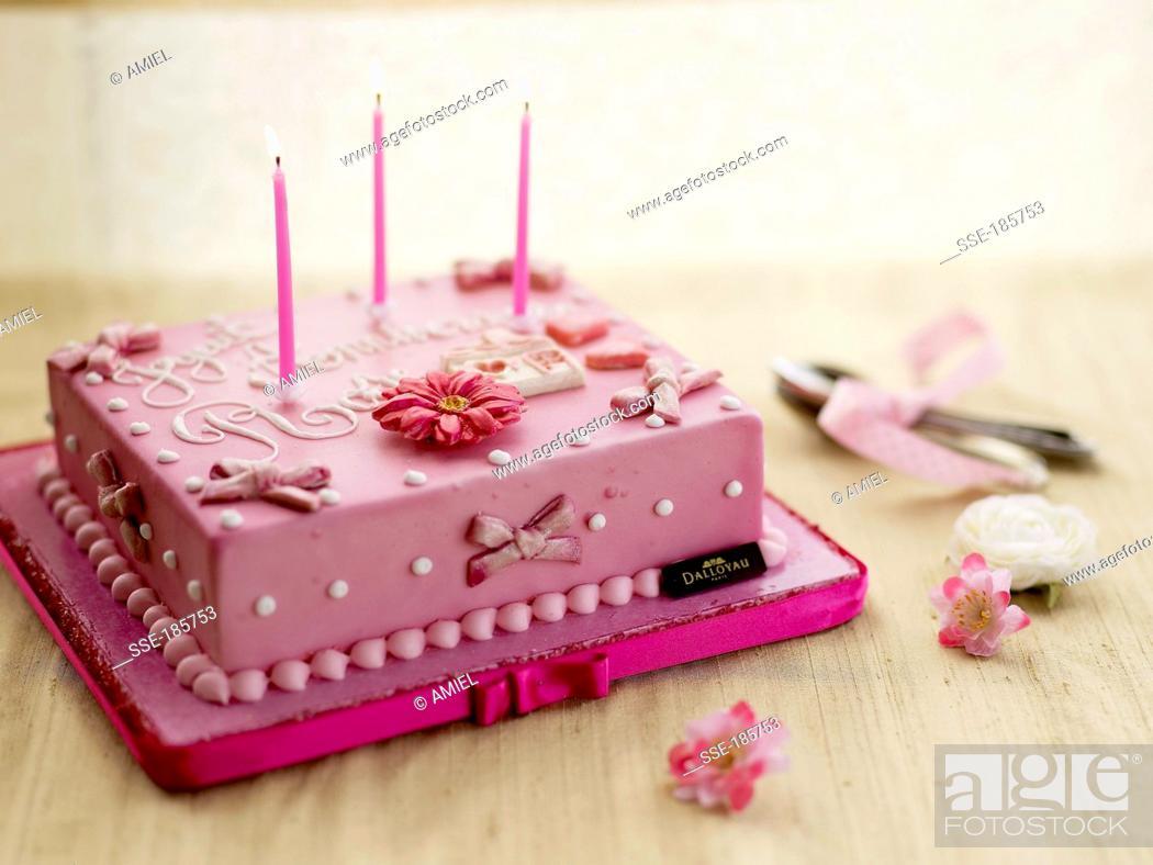 Birthday Cake With Almond Paste Decorations Dalloyau Creation