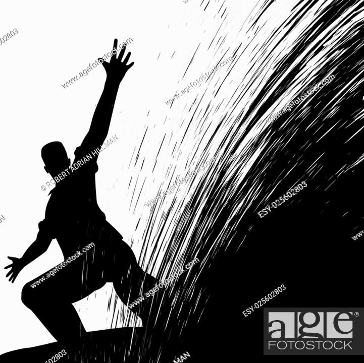 Vector: Editable vector illustration of a man sliding with grunge splash.