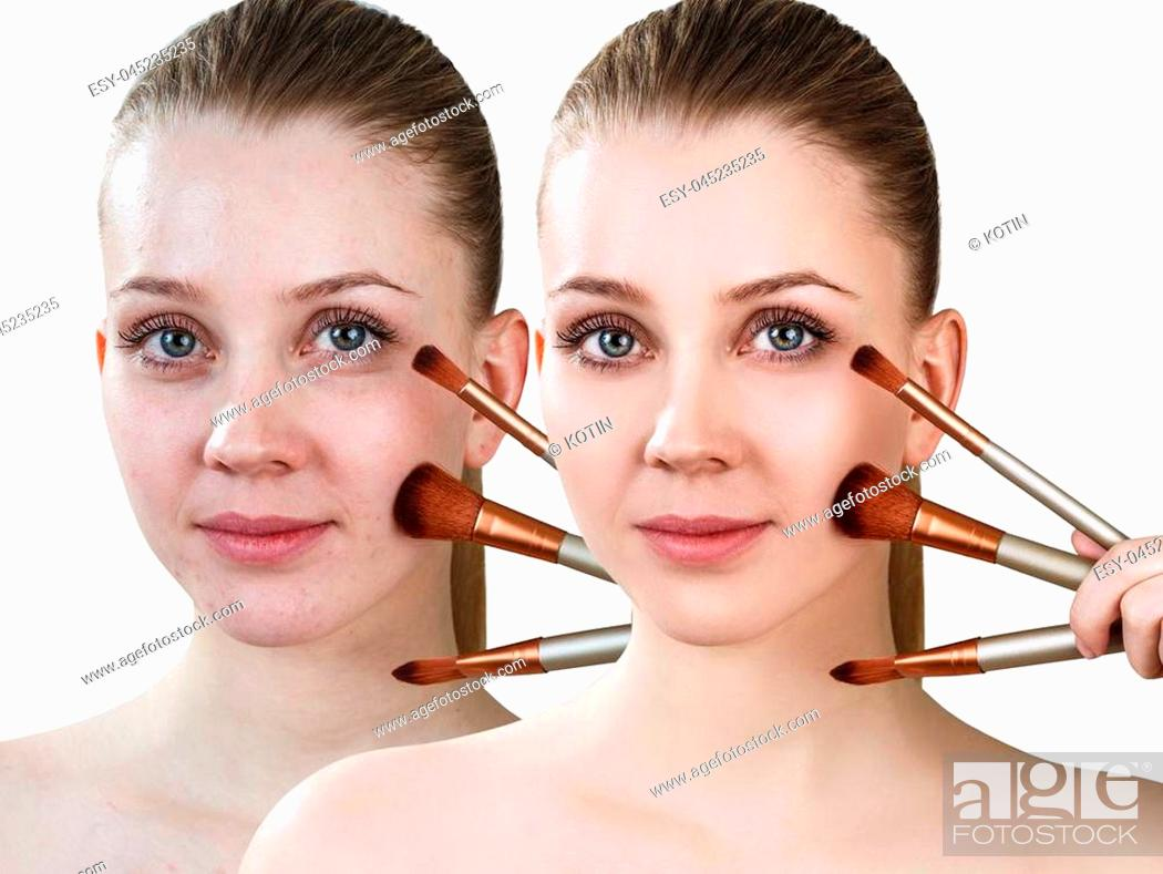 Imagen: Comparison portrait of young girl with brushes before and after treatment and make-up.