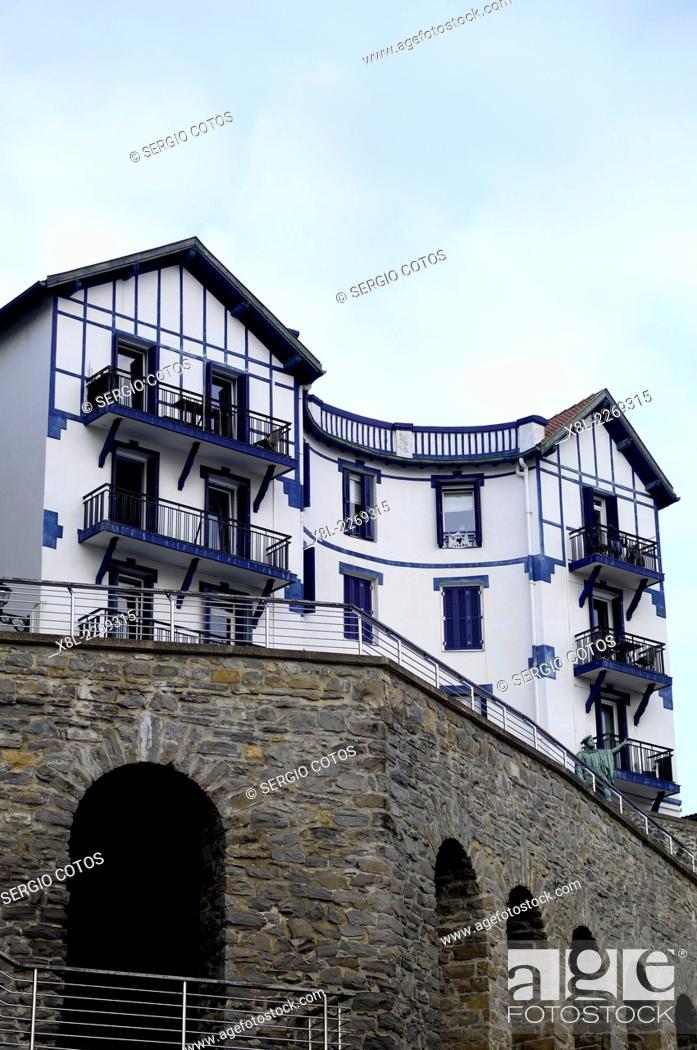 Stock Photo: block of flats in Guetaria, Basque Country, Guipuzcoa, Spain.