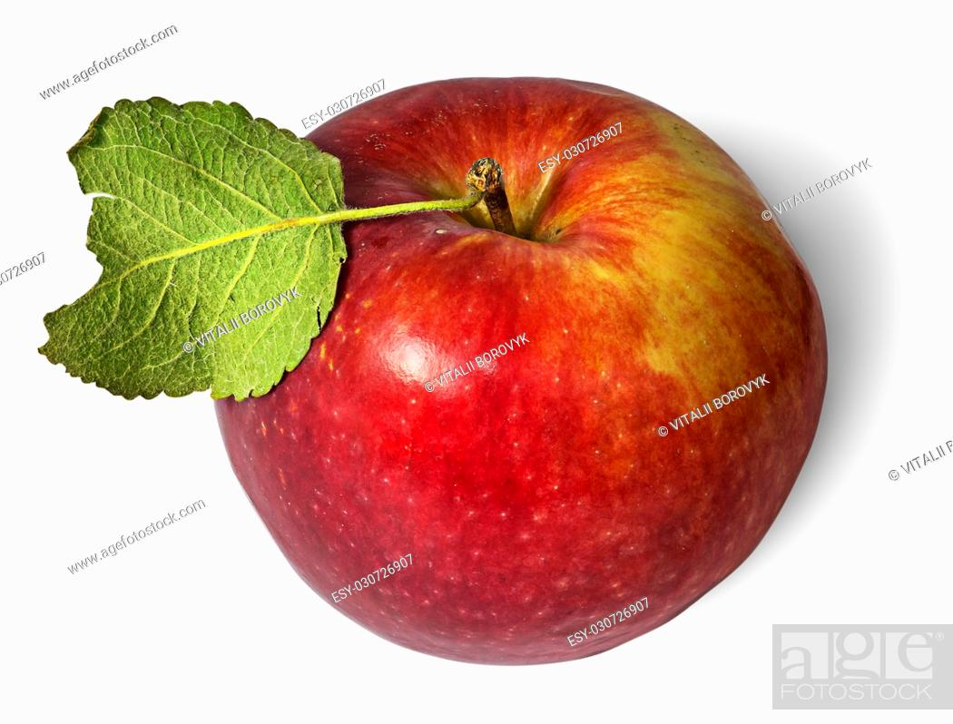 Stock Photo: Red ripe apple with green leaf top view isolated on white background.