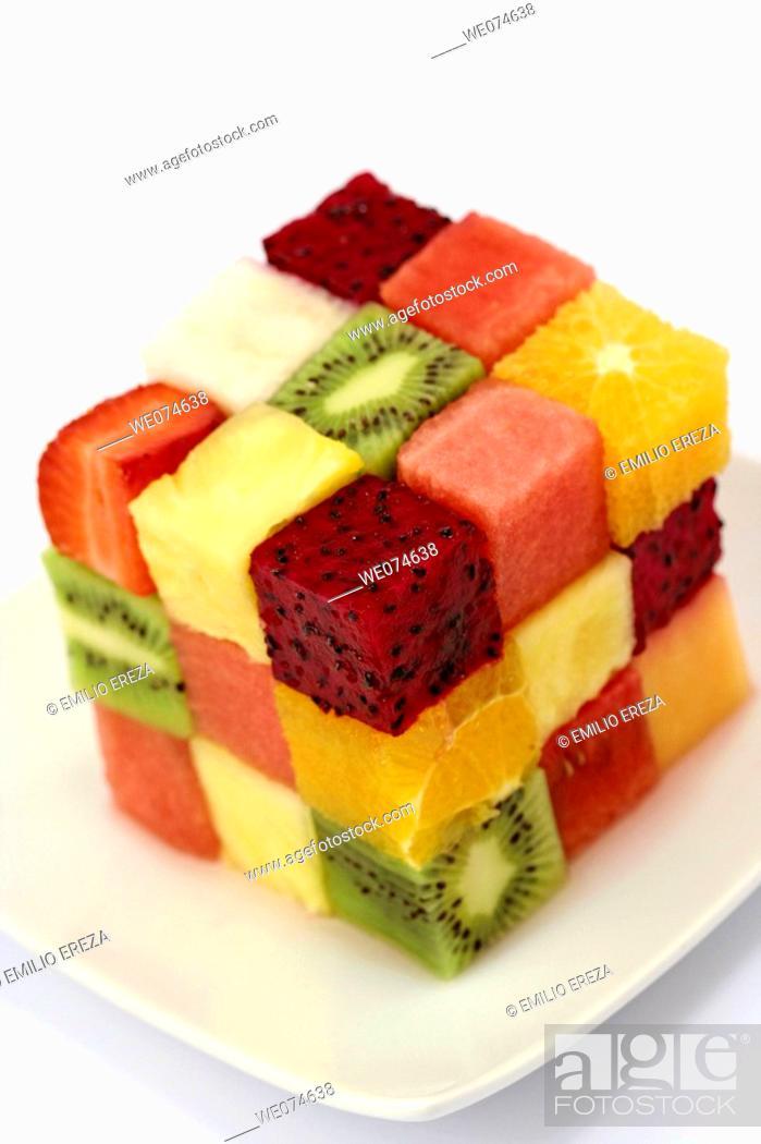 Stock Photo: Fruit cube.