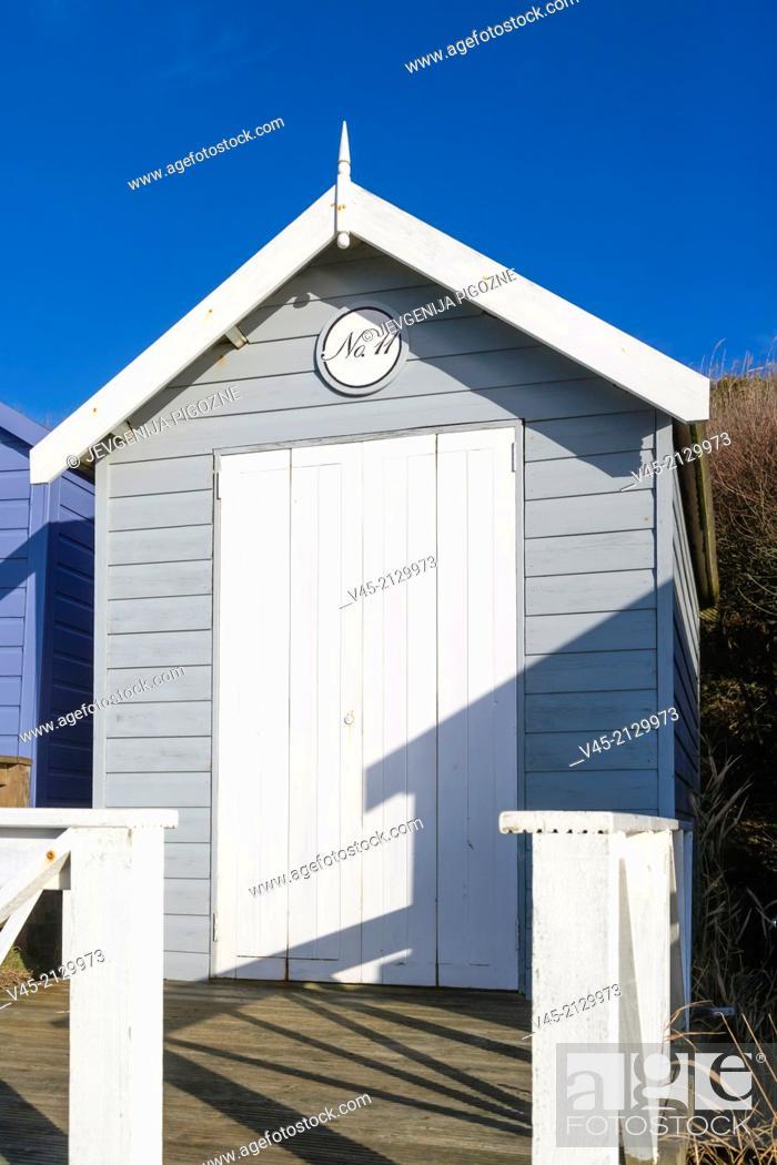 Stock Photo: Beach hut on sea coast, Milford on Sea, Hampshire, South England, UK.