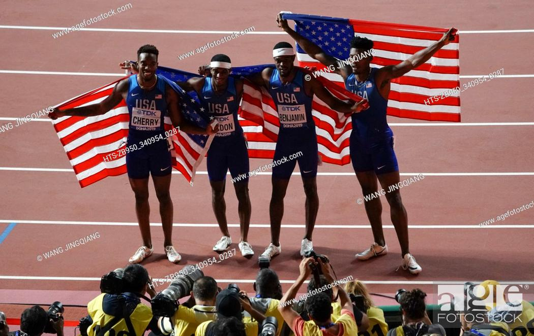 Stock Photo: (191007) -- DOHA, Oct. 7, 2019 () -- Team of the United States celebrate winning the gold medals after the men's 4X400m relay at the 2019 IAAF World Athletics.