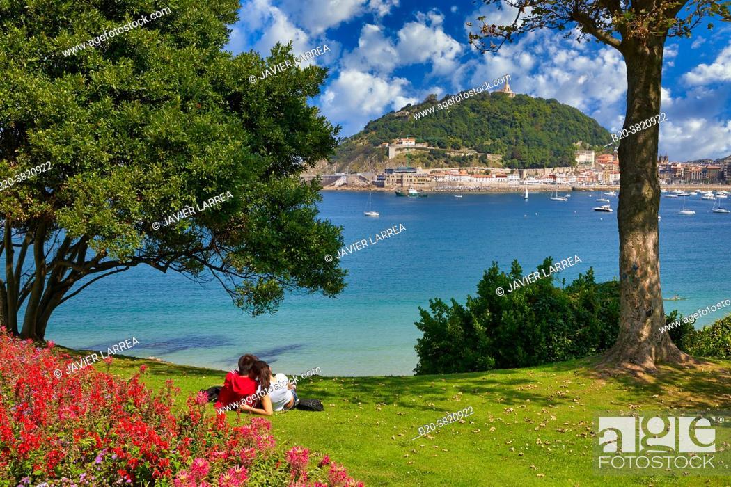 Stock Photo: La Concha bay, Miramar Palace Gardens, Donostia, San Sebastian, Gipuzkoa, Basque Country, Spain.