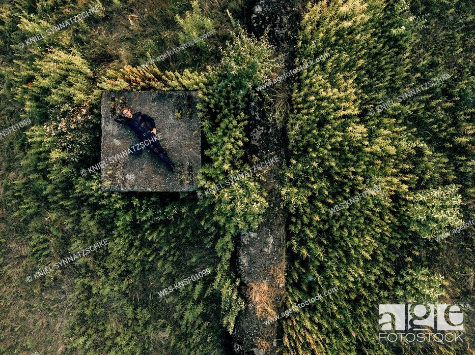 Stock Photo: Businessman lying in the nature next to laptop.