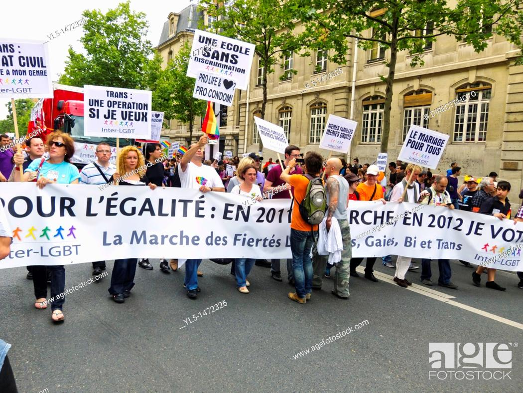 Paris, France, Gay Pride, LGTB March, Front of March