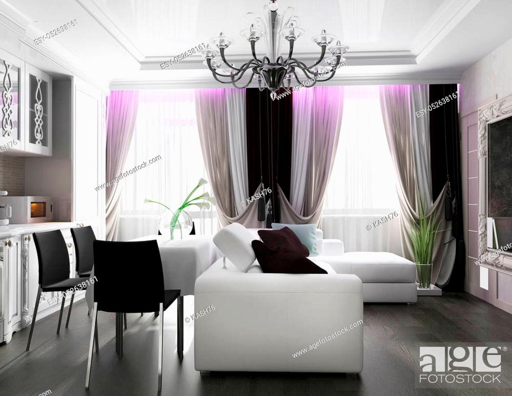 Stock Photo: White living room interior. 3 d rendering.