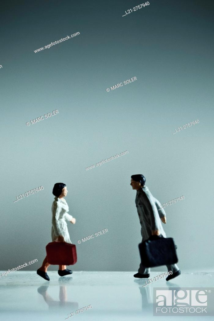 Stock Photo: Concept, couple, travel, love. Man and woman with suitcase, couple is reunited after travelling.