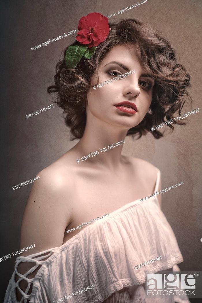 Stock Photo: Sexy Beauty Blonde, Fashionable female portrait, retro styled photography.