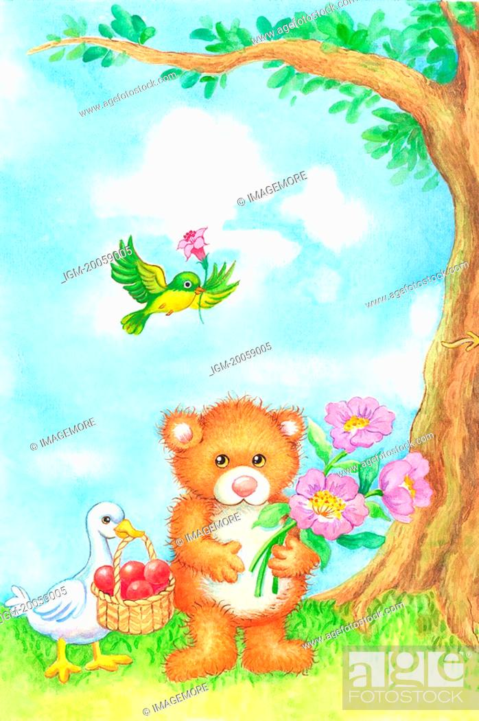 Stock Photo: Animal, Watercolor painting of a duck, bear and bird.