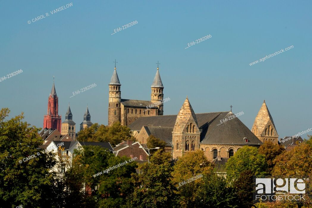 Stock Photo: Onze Lieve Vrouw Basiliek - Basilica of Our Lady (1000-1200). The Basilica has undergone a face-lift. For an image of the church before the restoration see.