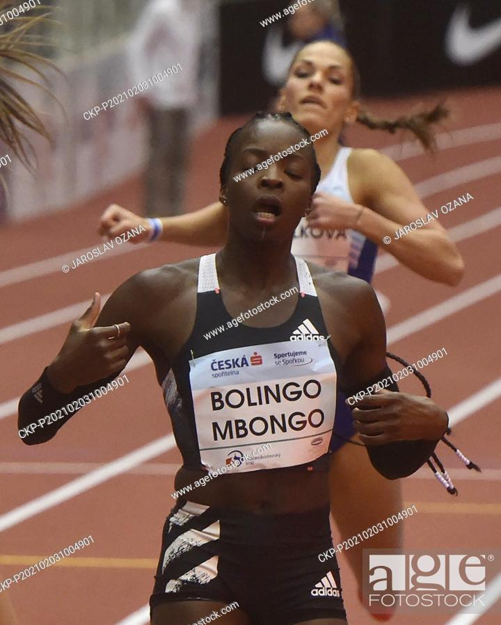 Stock Photo: Cynthia Bolingo Mbongo of Belgium in action during the Czech Indoor Gala international indoor athletic event 400 Metres Women - Run in Ostrava, Czech Republic.
