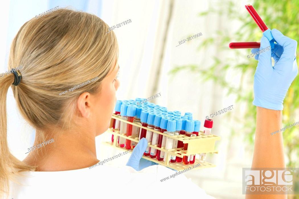 Stock Photo: BLOOD ANALYSIS Model.