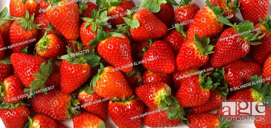 Stock Photo: Selection of strawberries.