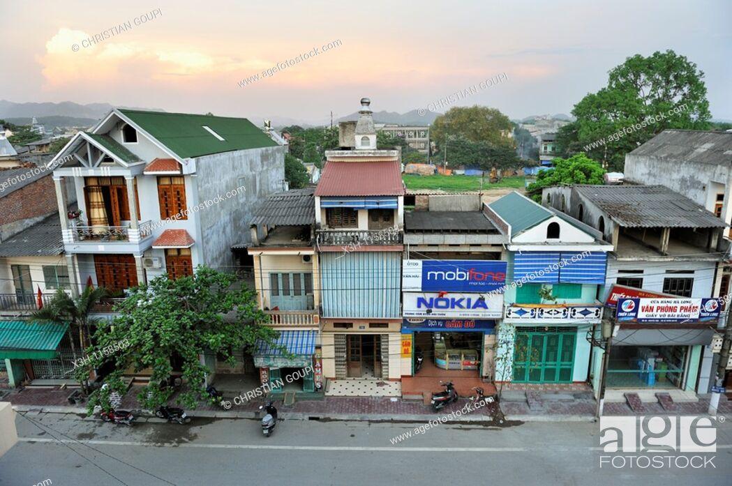 Stock Photo: street of Tuyen Quang, northern vietnam, southeast asia.