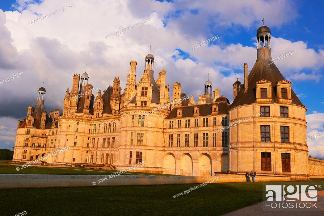 Stock Photo: Chambord, Chambord Castle, Chateau de Chambord, Sunset, Loir et Cher, Loire Valley, Loire River, Val de Loire, UNESCO World Heritage Site, France.