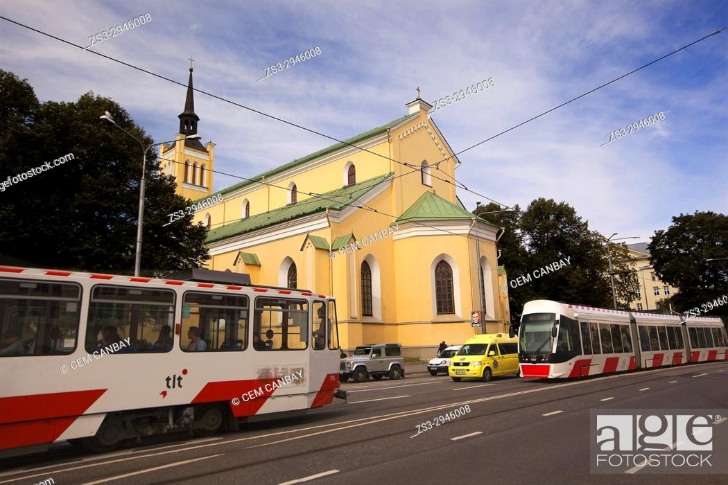 Stock Photo: Trams in front of the St. John's Church in the old town, Tallinn, Estonia, Baltic States, Europe.