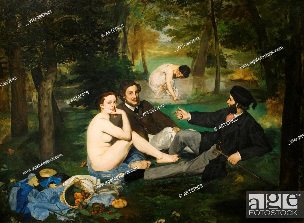 Stock Photo: Edouard Manet. Le déjeuner sur l'herbe - Luncheon on the Grass . 1863. XIX th century . Orsay Museum - Paris.