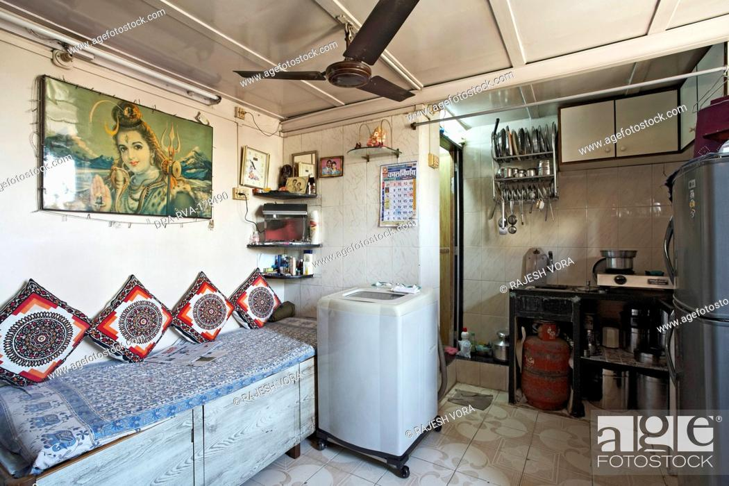 Stock Photo   One Room House With Bathroom Textile Mill Chawl Mumbai India  Asia