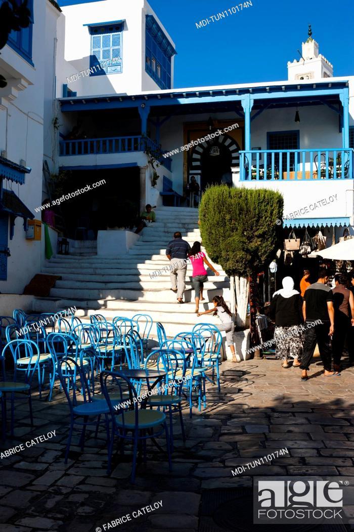 Stock Photo: Tunisia - Sidi Bou Said - Terrace of a cafe in the village.