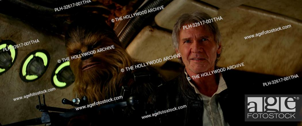 Stock Photo: Harrison Ford and Peter Mayhew in Star Wars: Episode VII - The Force Awakens (2015) © Lucasfilm 2015.
