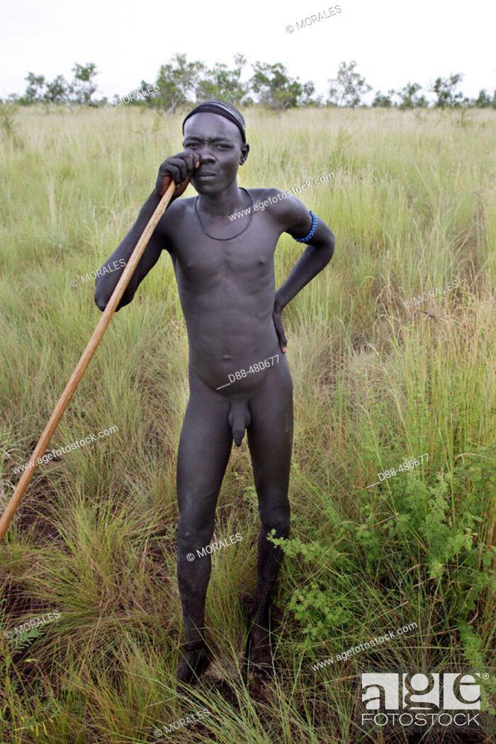Photo de stock: Mursi boys. Omo valley. South Ethiopia.